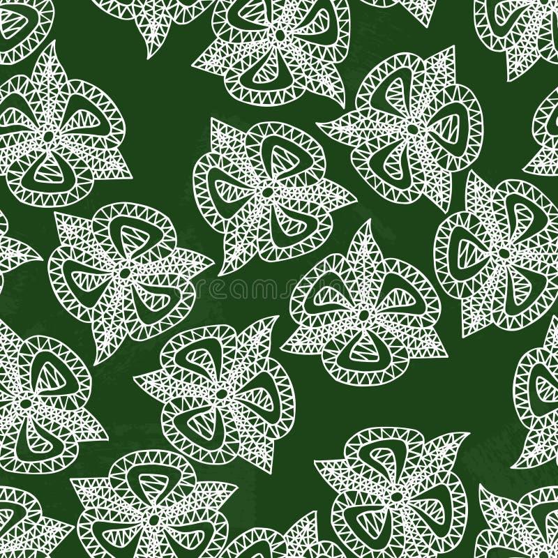 Bloemen een krijtje worden getrokken op een groene raad die Bloemendruk Naadloze patroon vectorachtergrond vector illustratie
