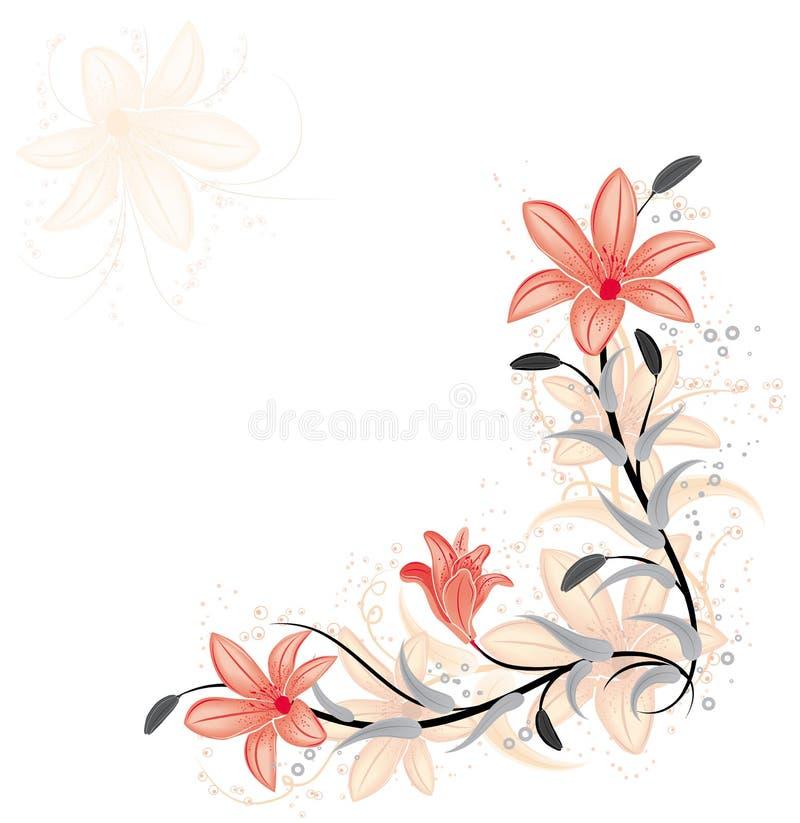 Bloemen element voor ontwerp met lelie, vector royalty-vrije illustratie