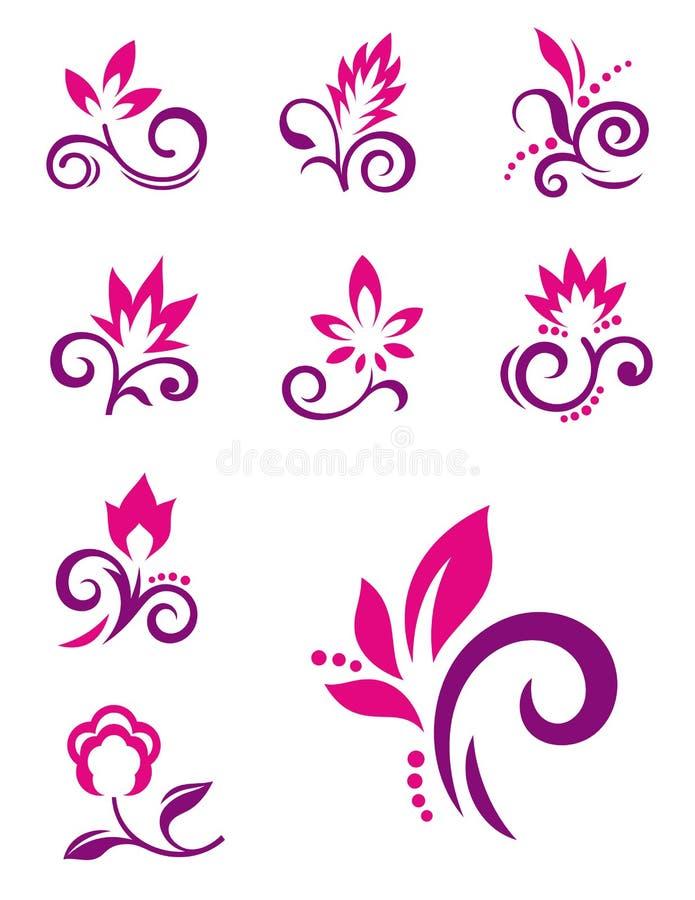 Bloemen elementen royalty-vrije illustratie