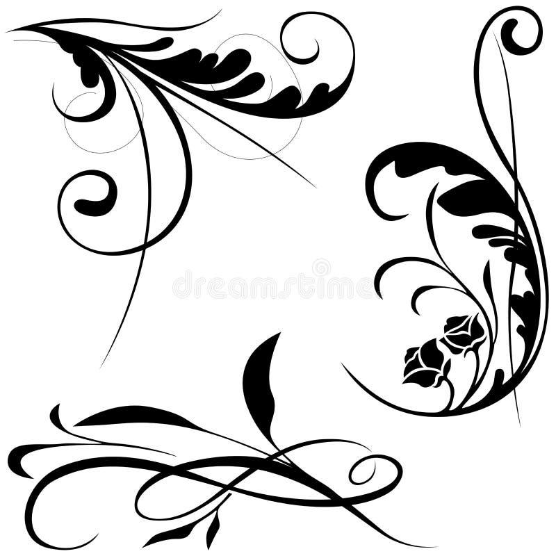 Bloemen elementen B stock illustratie