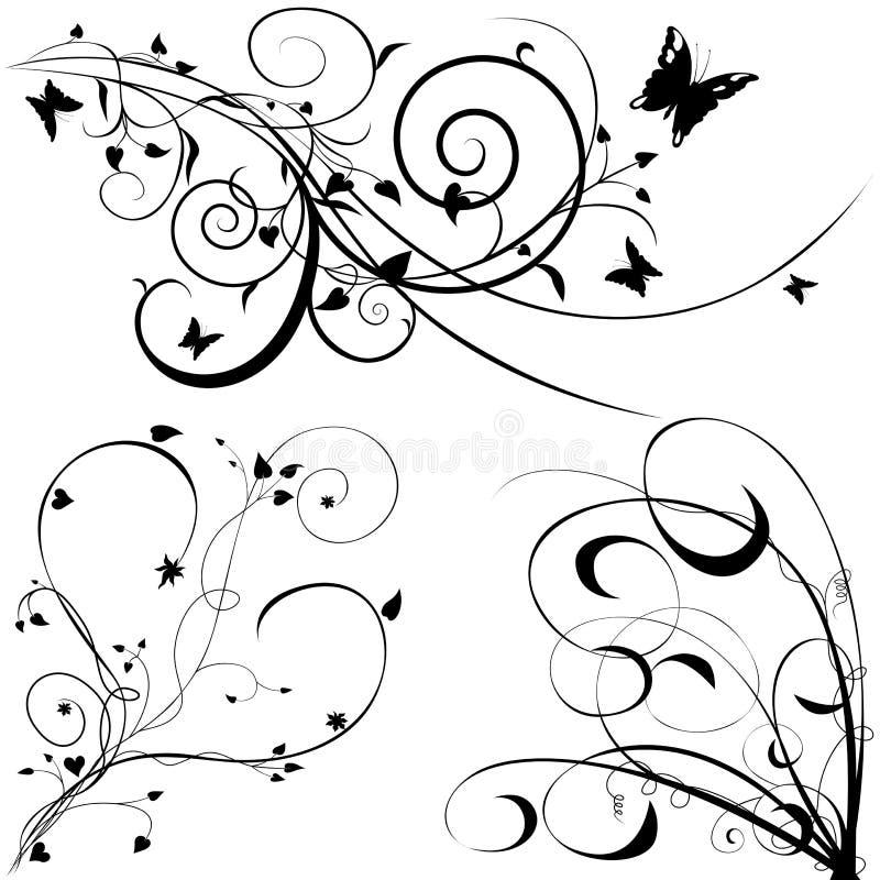 Bloemen elementen C royalty-vrije illustratie