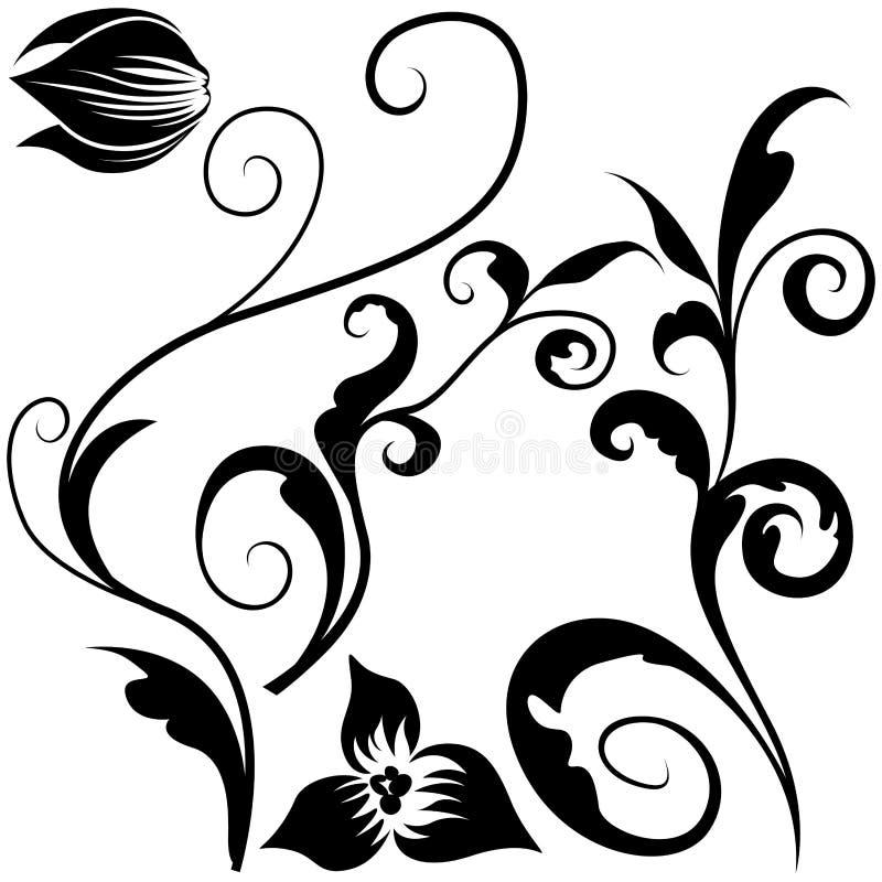 Bloemen elementen J stock illustratie