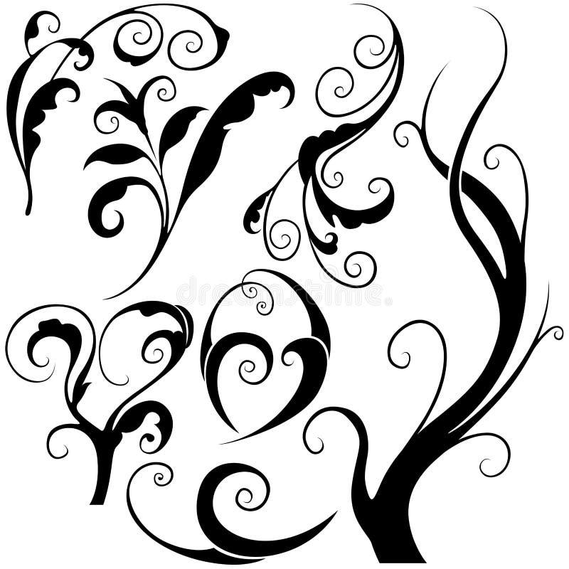 Bloemen elementen M vector illustratie