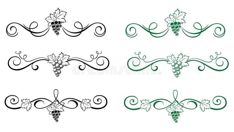 Bloemen elementen met druif vector illustratie
