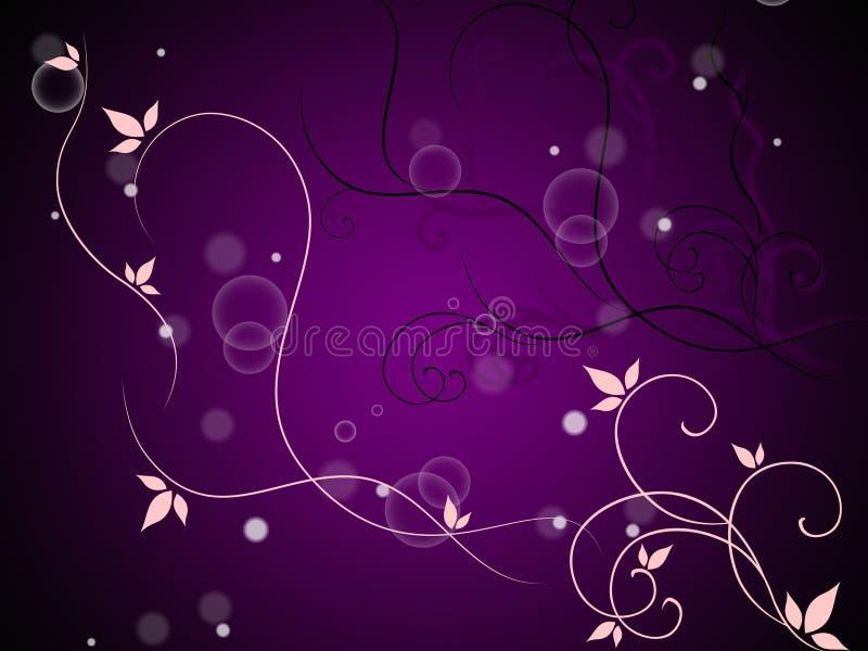 Bloemen en Bellen Achtergrondmiddelen Decoratieve Stam en Bladeren royalty-vrije illustratie
