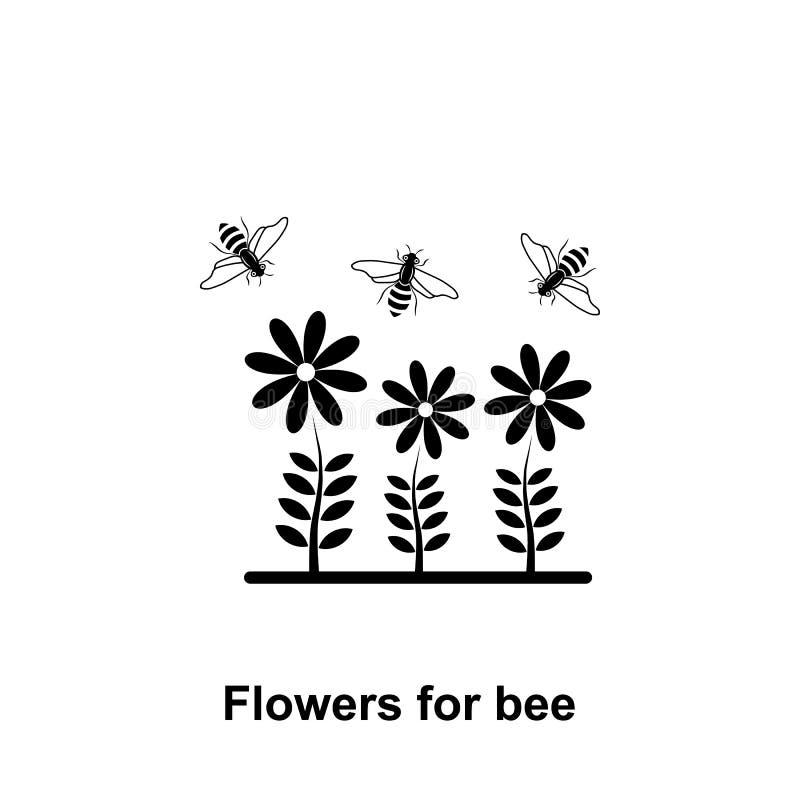 bloemen en bijenpictogram Element van imkerijpictogram Grafisch het ontwerppictogram van de premiekwaliteit Tekens en symboleninz royalty-vrije illustratie