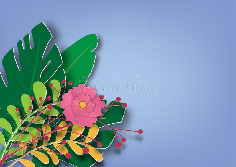 Bloemen en bladerendocument kunst modieuze Vectorillustratie op blauwe achtergrond royalty-vrije illustratie