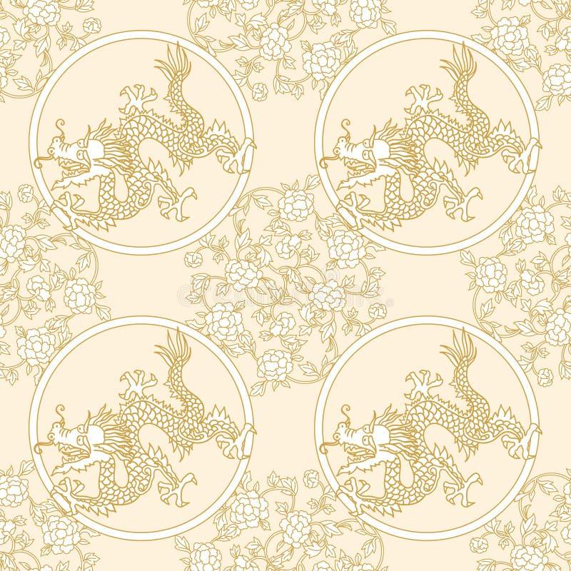 Bloemen en draak naadloos patroon stock illustratie