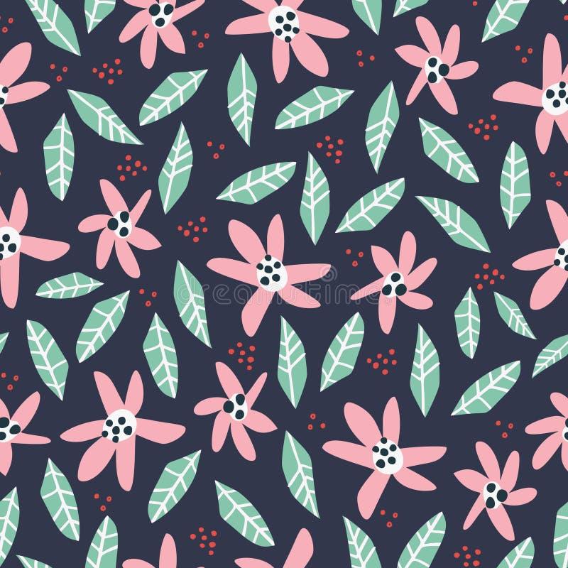 Bloemen en gebladertehand getrokken naadloos patroon vector illustratie