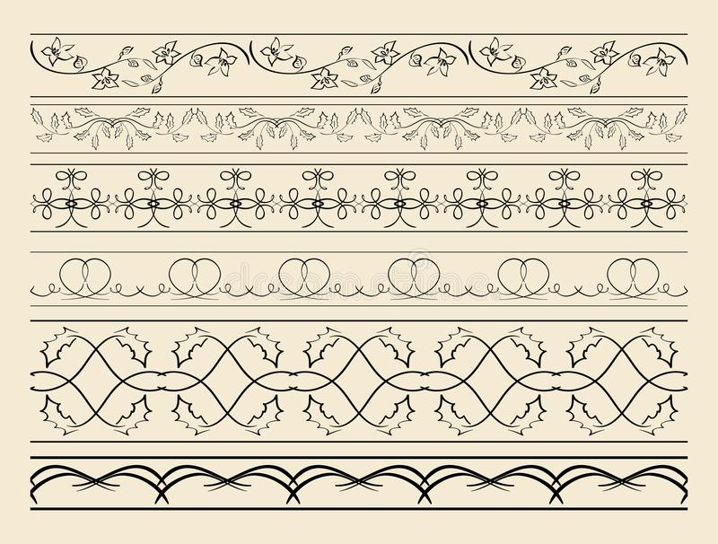 Bloemen en gebogen siergrenzen - reeks vectordecoratie vector illustratie