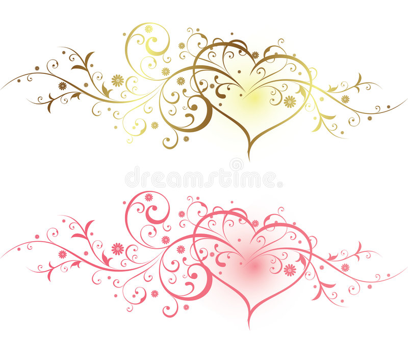 Bloemen en Hart royalty-vrije illustratie