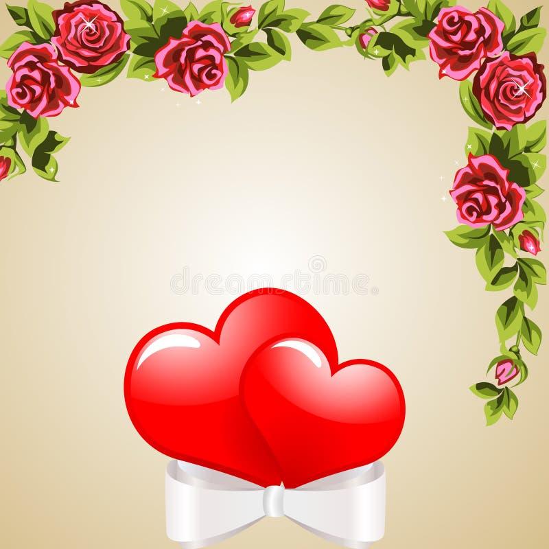 Bloemen en harten vector illustratie