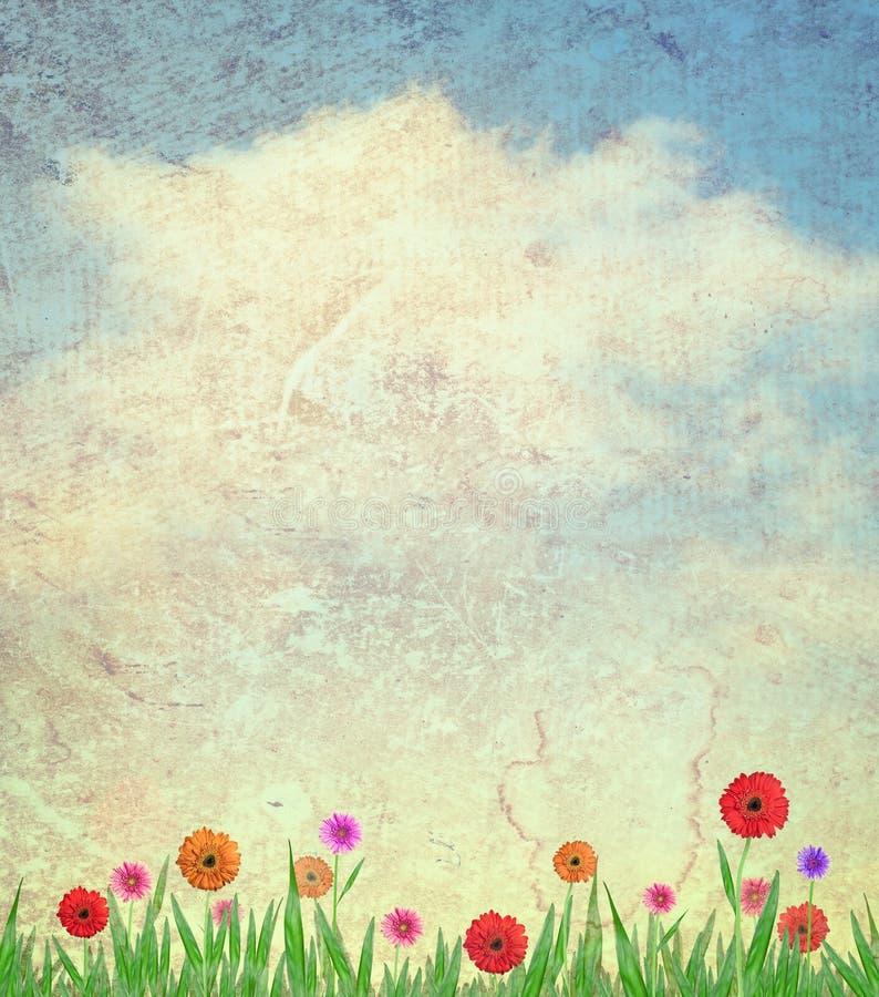 Bloemen en hemel op document achtergrond stock fotografie
