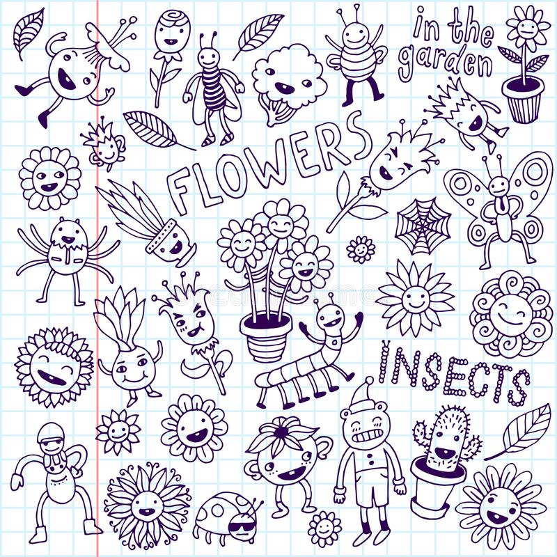 Bloemen en insecten De reeks van de krabbel Schoolnotitieboekje royalty-vrije stock afbeeldingen