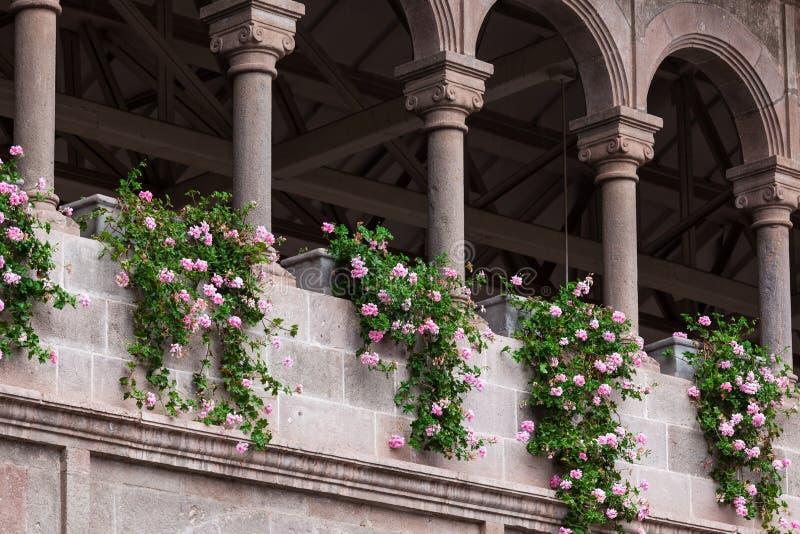 Bloemen en kolommen royalty-vrije stock afbeeldingen