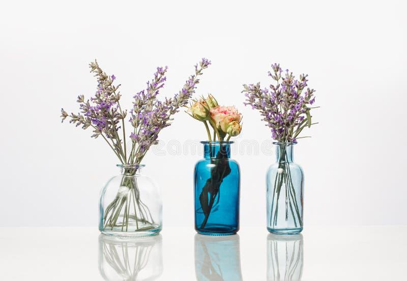 Bloemen en kruiden in glasflessen Abstracte die bloemboeketten in flessen op wit worden geïsoleerd royalty-vrije stock foto