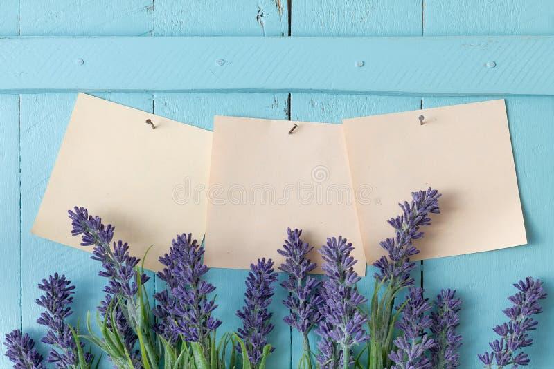 Bloemen en leeg notadocument stock afbeelding
