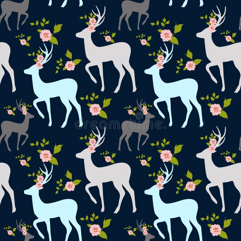 Bloemen en mannetje, herten naadloos patroon vector illustratie