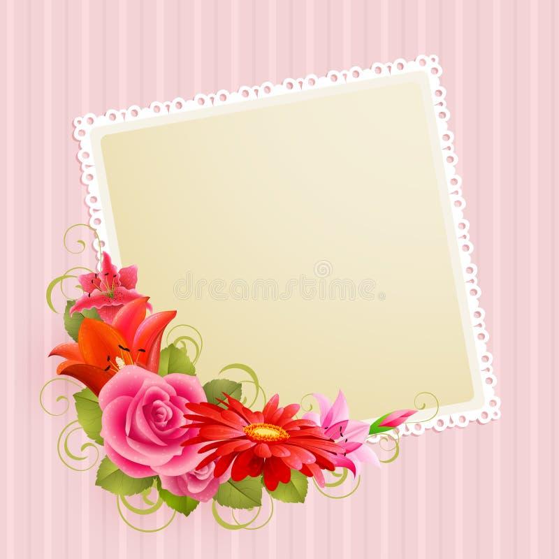 Bloemen en plaats voor tekst royalty-vrije illustratie