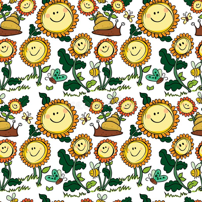 Bloemen en slak met wit naadloos patroon worden gekleurd dat als achtergrond vector illustratie