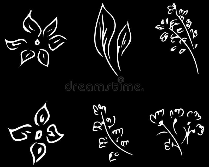 Bloemen en takken op zwarte achtergrond worden geïsoleerd die Hand getrokken krabbelinzameling 6 bloemen grafische elementen grot vector illustratie