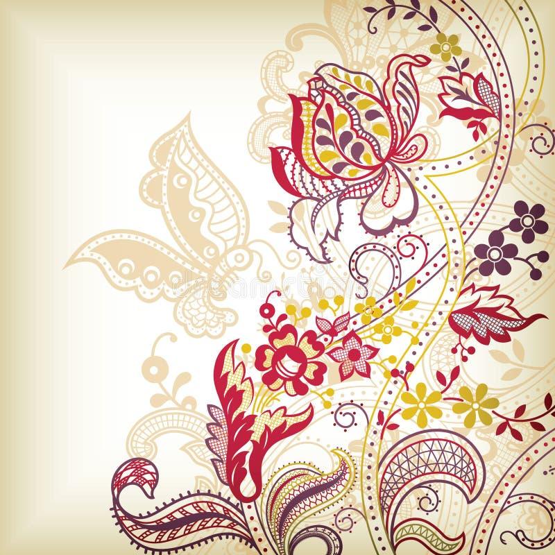 Bloemen en Vlinder vector illustratie