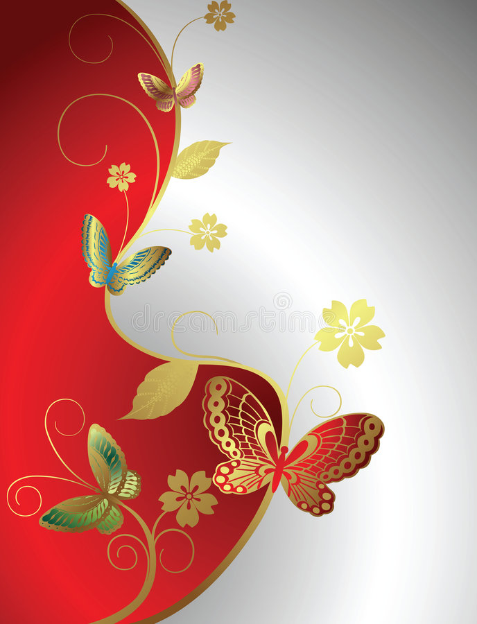 Bloemen en vlinder stock illustratie