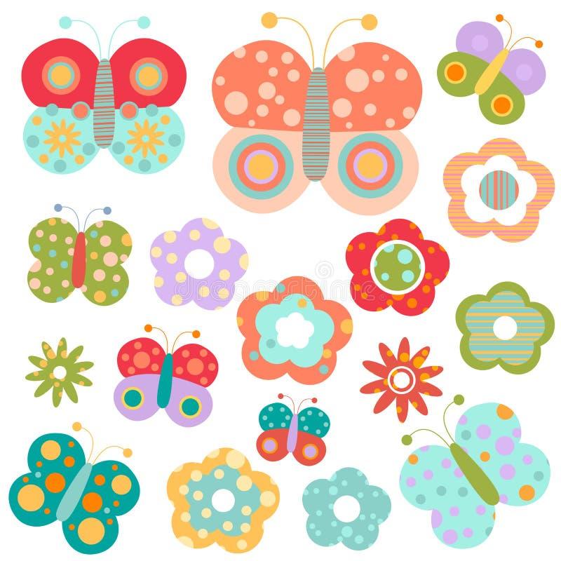 Bloemen en vlinders vector illustratie