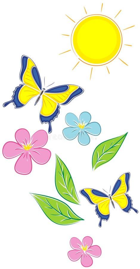 Bloemen en Vlinders (Vector) vector illustratie