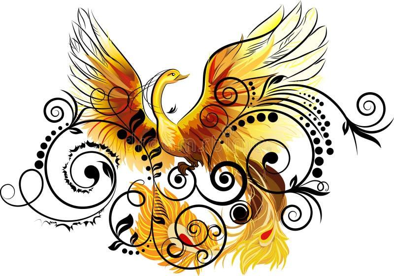 Bloemen en vogel vector illustratie