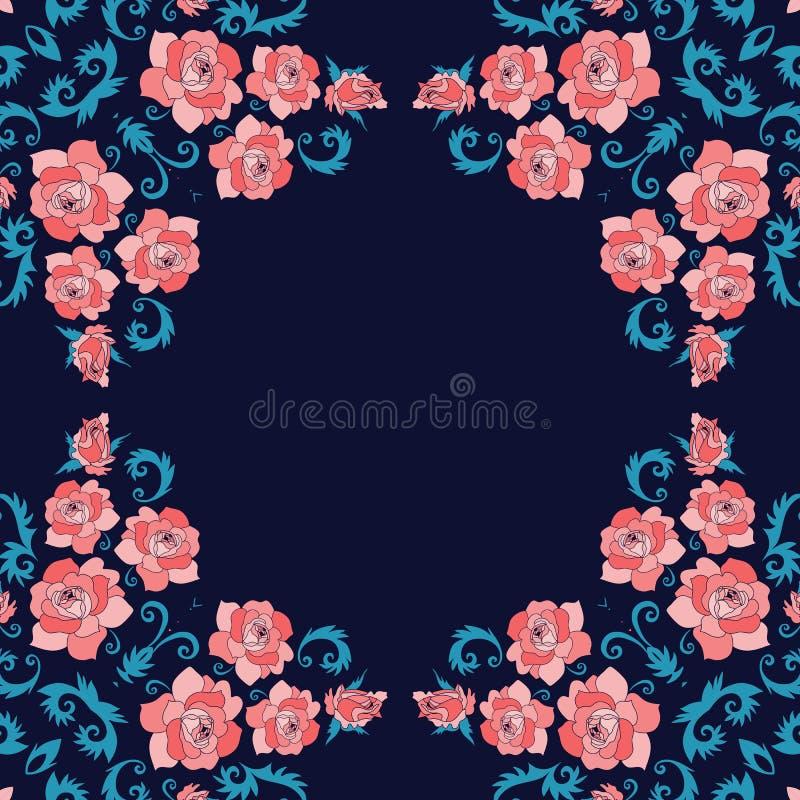 Bloemen en vogels Mooi ontwerp voor kaders, kaarten, bandanadrukken, hoofddoekontwerp royalty-vrije illustratie