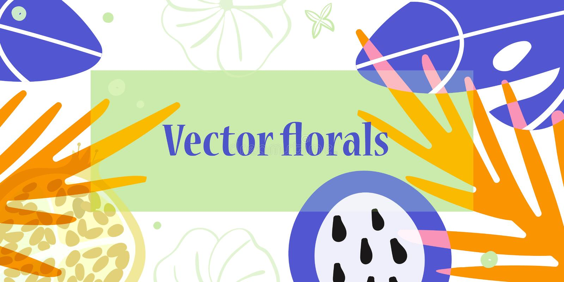 Bloemen en vruchten illustratie met exemplaarruimte vector illustratie