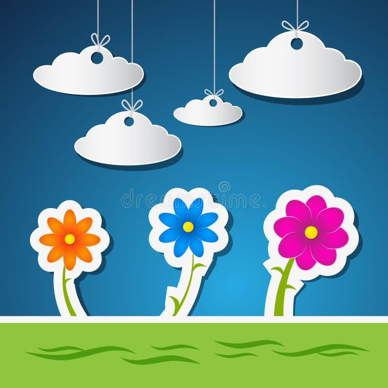 Bloemen en Wolken van Document met Blauwe Hemel worden gemaakt die stock illustratie