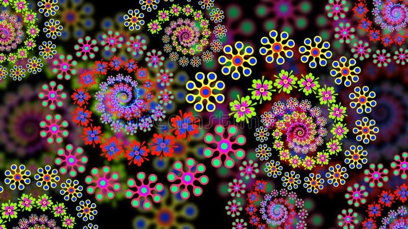 Bloemen Fractal Achtergrond stock illustratie