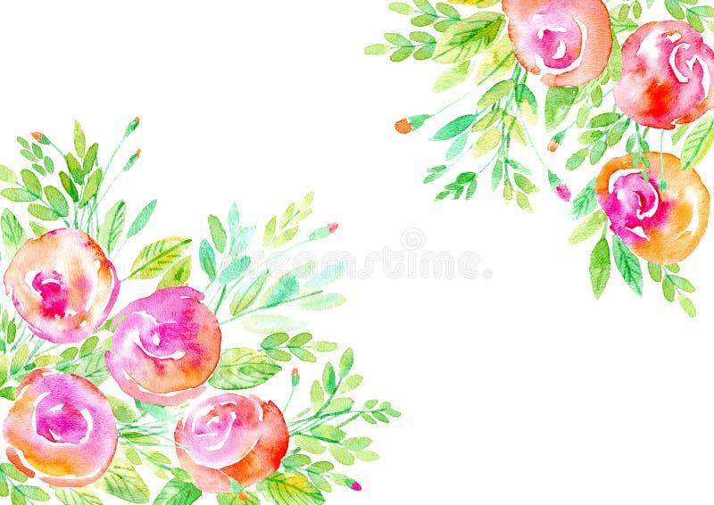 Bloemen frame De slinger van rozen vertakt zich Waterverfhand getrokken illustratie stock illustratie