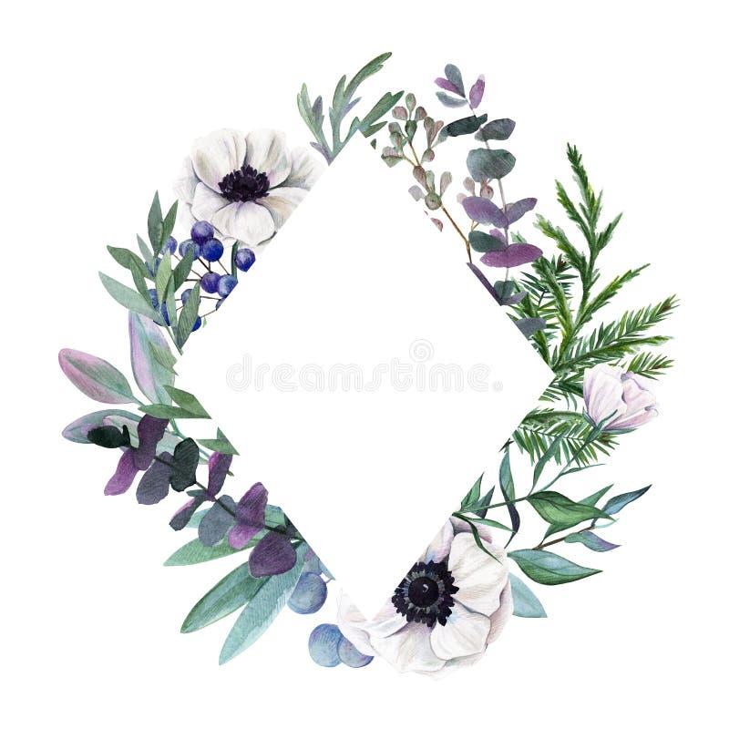 Bloemen frame Getrokken waterverf botanische hand vector illustratie