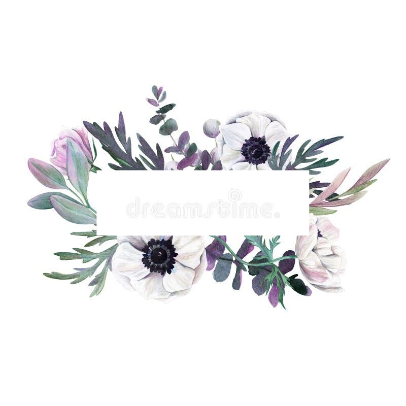 Bloemen frame Getrokken waterverf botanische hand royalty-vrije illustratie