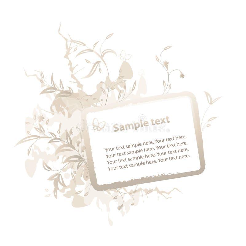 Bloemen Frame Grunge voor tekst stock illustratie