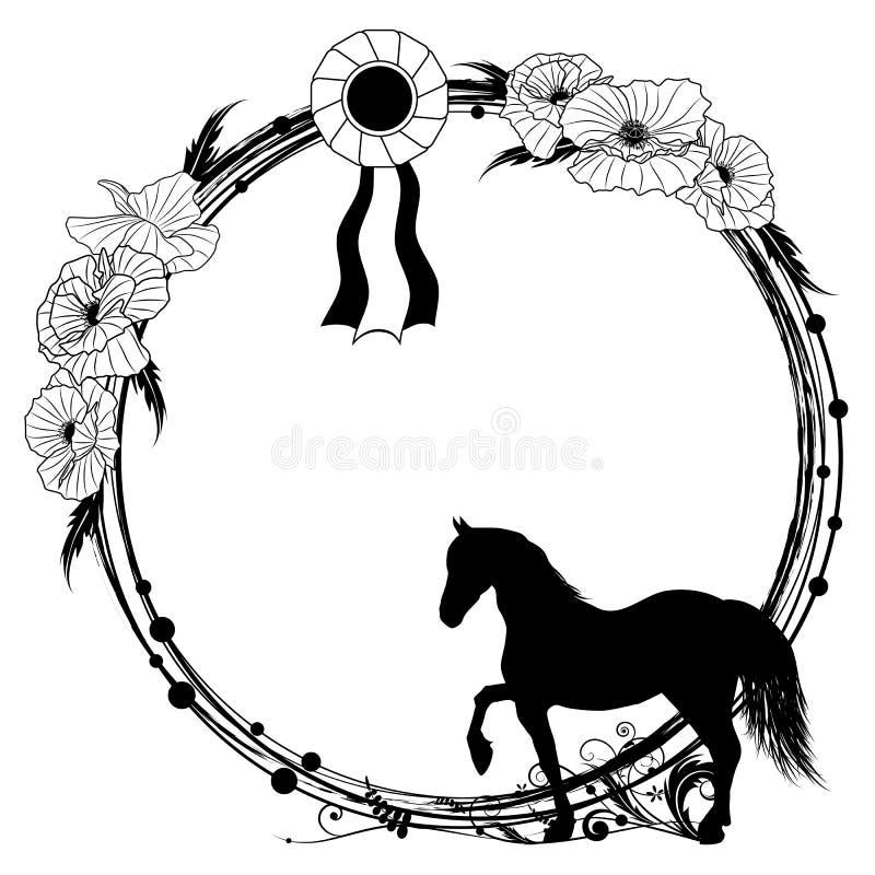 Bloemen frame met paard royalty-vrije illustratie
