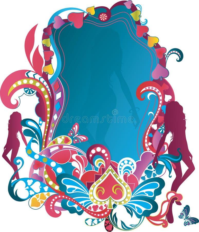 Bloemen Frame met Vrouw 5 royalty-vrije illustratie