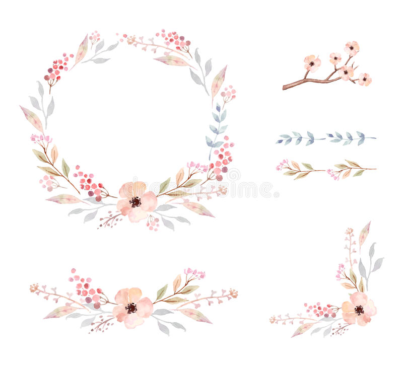 Bloemen frame Reeks leuke waterverfbloemen stock illustratie