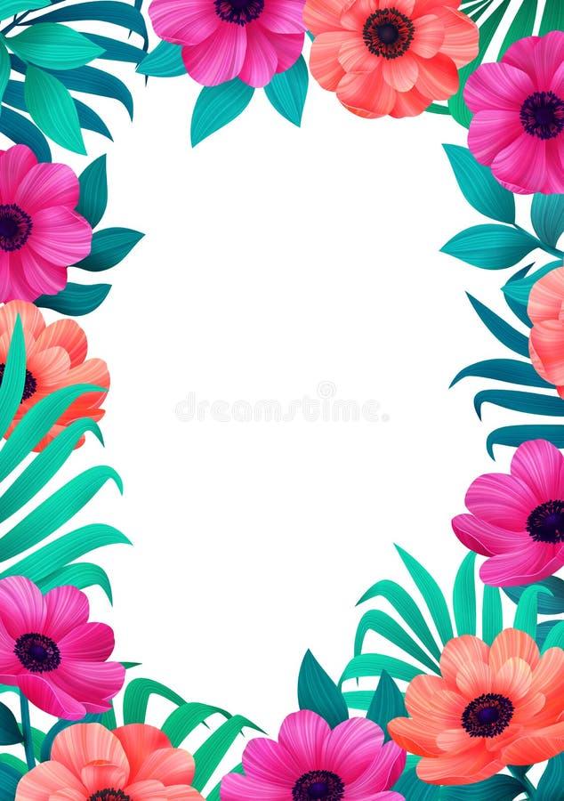 Bloemen frame Tropisch bloemen in malplaatje Verticaal Ontwerp met mooie bloemen en palmbladen met exemplaarruimte stock illustratie