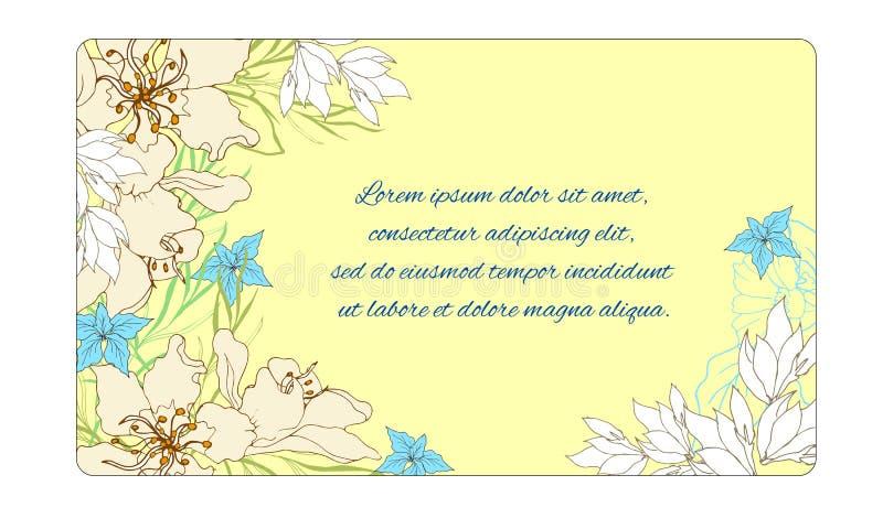 Bloemen frame voor tekst Prentbriefkaar voor gelukwensen met de lentebloemen op een gele achtergrond Vector illustratie vector illustratie