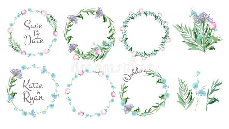 Bloemen frames De cirkelvormen met bloemen vertakt zich de decoratieve van de groetkaarten van het elementen eenvoudige blad vect royalty-vrije illustratie