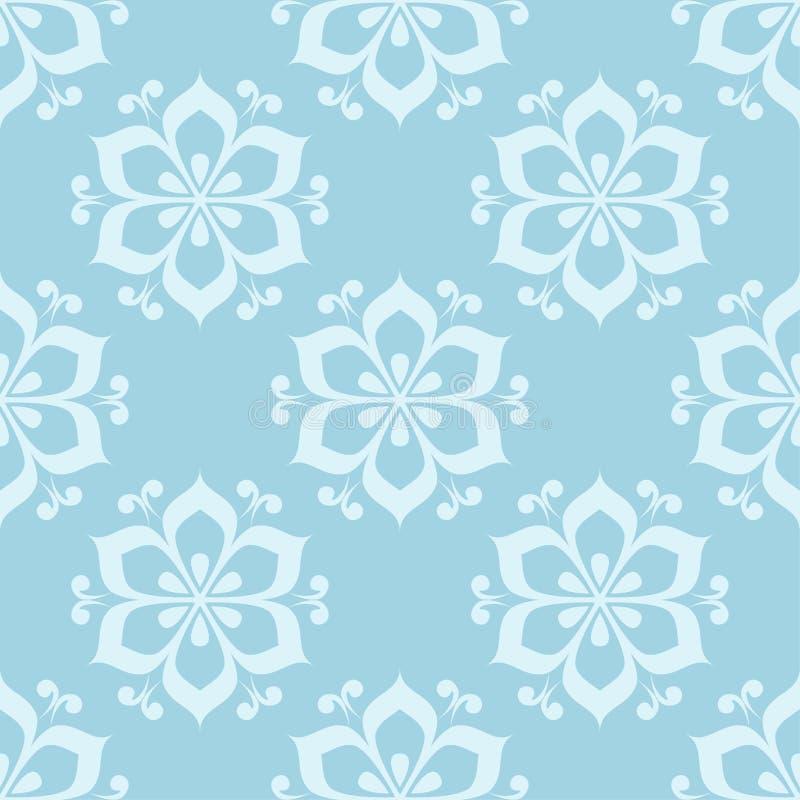 Bloemen gekleurd naadloos patroon Blauwe en witte achtergrond met fowerelementen voor behang stock illustratie
