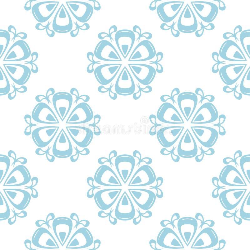 Bloemen gekleurd naadloos patroon Blauwe en witte achtergrond met fowerelementen voor behang royalty-vrije illustratie