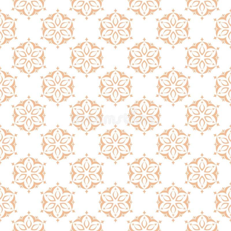 Bloemen gekleurd naadloos patroon Bruine en witte achtergrond met fowerelementen voor behang stock illustratie