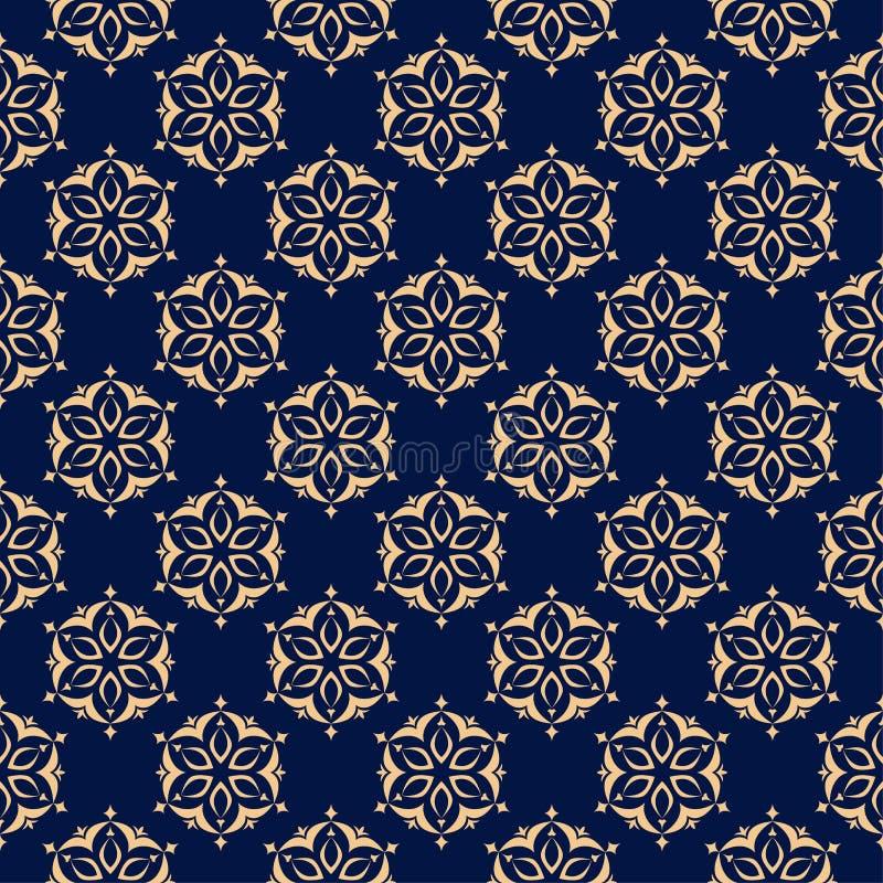 Bloemen gekleurd naadloos patroon Gouden blauwe achtergrond met fowerelementen voor behang stock illustratie