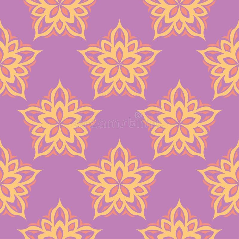 Bloemen gekleurd naadloos patroon Heldere achtergrond royalty-vrije illustratie