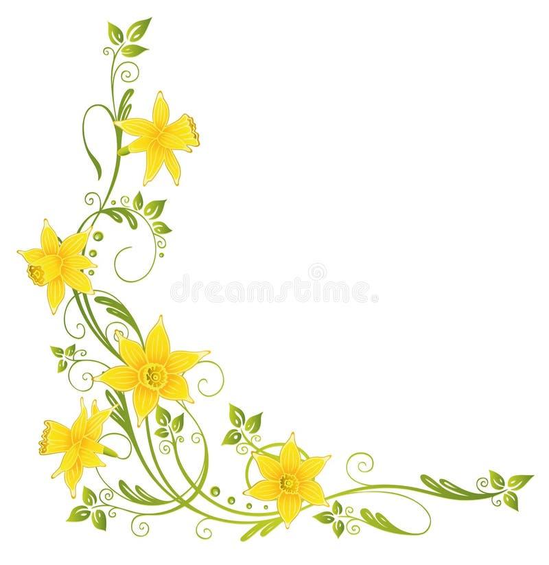 Bloemen, gele narcissen stock illustratie